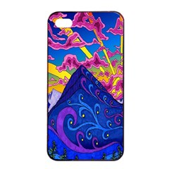 Psychedelic Colorful Lines Nature Mountain Trees Snowy Peak Moon Sun Rays Hill Road Artwork Stars Apple iPhone 4/4s Seamless Case (Black)