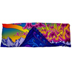 Psychedelic Colorful Lines Nature Mountain Trees Snowy Peak Moon Sun Rays Hill Road Artwork Stars Body Pillow Case (Dakimakura)