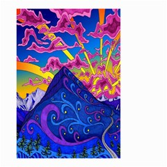 Psychedelic Colorful Lines Nature Mountain Trees Snowy Peak Moon Sun Rays Hill Road Artwork Stars Small Garden Flag (Two Sides)