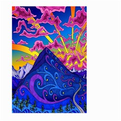 Psychedelic Colorful Lines Nature Mountain Trees Snowy Peak Moon Sun Rays Hill Road Artwork Stars Large Garden Flag (Two Sides)