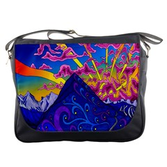 Psychedelic Colorful Lines Nature Mountain Trees Snowy Peak Moon Sun Rays Hill Road Artwork Stars Messenger Bags