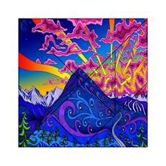 Psychedelic Colorful Lines Nature Mountain Trees Snowy Peak Moon Sun Rays Hill Road Artwork Stars Acrylic Tangram Puzzle (6  X 6 )