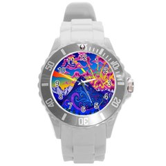 Psychedelic Colorful Lines Nature Mountain Trees Snowy Peak Moon Sun Rays Hill Road Artwork Stars Round Plastic Sport Watch (L)