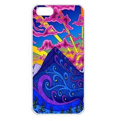 Psychedelic Colorful Lines Nature Mountain Trees Snowy Peak Moon Sun Rays Hill Road Artwork Stars Apple Iphone 5 Seamless Case (white)