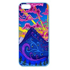 Psychedelic Colorful Lines Nature Mountain Trees Snowy Peak Moon Sun Rays Hill Road Artwork Stars Apple Seamless Iphone 5 Case (color)