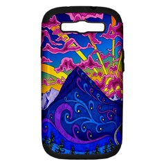 Psychedelic Colorful Lines Nature Mountain Trees Snowy Peak Moon Sun Rays Hill Road Artwork Stars Samsung Galaxy S III Hardshell Case (PC+Silicone)