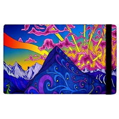 Psychedelic Colorful Lines Nature Mountain Trees Snowy Peak Moon Sun Rays Hill Road Artwork Stars Apple iPad 3/4 Flip Case
