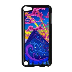 Psychedelic Colorful Lines Nature Mountain Trees Snowy Peak Moon Sun Rays Hill Road Artwork Stars Apple Ipod Touch 5 Case (black)