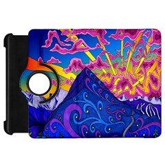 Psychedelic Colorful Lines Nature Mountain Trees Snowy Peak Moon Sun Rays Hill Road Artwork Stars Kindle Fire Hd 7