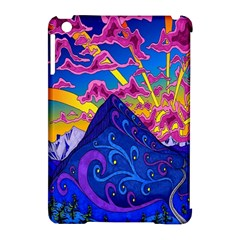 Psychedelic Colorful Lines Nature Mountain Trees Snowy Peak Moon Sun Rays Hill Road Artwork Stars Apple iPad Mini Hardshell Case (Compatible with Smart Cover)
