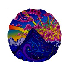 Psychedelic Colorful Lines Nature Mountain Trees Snowy Peak Moon Sun Rays Hill Road Artwork Stars Standard 15  Premium Round Cushions