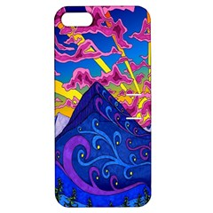 Psychedelic Colorful Lines Nature Mountain Trees Snowy Peak Moon Sun Rays Hill Road Artwork Stars Apple iPhone 5 Hardshell Case with Stand