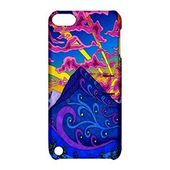 Psychedelic Colorful Lines Nature Mountain Trees Snowy Peak Moon Sun Rays Hill Road Artwork Stars Apple iPod Touch 5 Hardshell Case with Stand