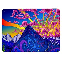 Psychedelic Colorful Lines Nature Mountain Trees Snowy Peak Moon Sun Rays Hill Road Artwork Stars Samsung Galaxy Tab 7  P1000 Flip Case