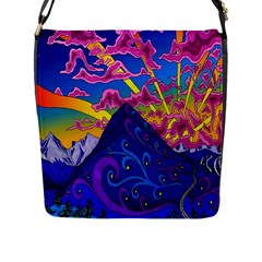 Psychedelic Colorful Lines Nature Mountain Trees Snowy Peak Moon Sun Rays Hill Road Artwork Stars Flap Messenger Bag (L)