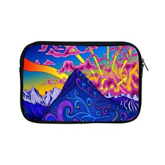 Psychedelic Colorful Lines Nature Mountain Trees Snowy Peak Moon Sun Rays Hill Road Artwork Stars Apple iPad Mini Zipper Cases