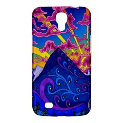 Psychedelic Colorful Lines Nature Mountain Trees Snowy Peak Moon Sun Rays Hill Road Artwork Stars Samsung Galaxy Mega 6.3  I9200 Hardshell Case