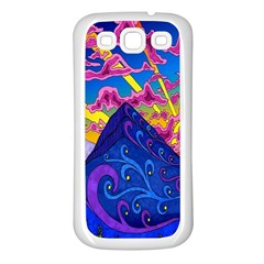 Psychedelic Colorful Lines Nature Mountain Trees Snowy Peak Moon Sun Rays Hill Road Artwork Stars Samsung Galaxy S3 Back Case (White)