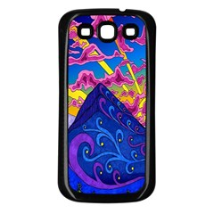 Psychedelic Colorful Lines Nature Mountain Trees Snowy Peak Moon Sun Rays Hill Road Artwork Stars Samsung Galaxy S3 Back Case (black)