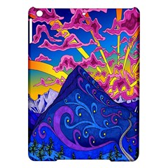 Psychedelic Colorful Lines Nature Mountain Trees Snowy Peak Moon Sun Rays Hill Road Artwork Stars Ipad Air Hardshell Cases