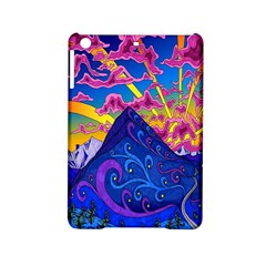 Psychedelic Colorful Lines Nature Mountain Trees Snowy Peak Moon Sun Rays Hill Road Artwork Stars iPad Mini 2 Hardshell Cases
