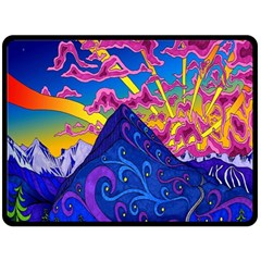 Psychedelic Colorful Lines Nature Mountain Trees Snowy Peak Moon Sun Rays Hill Road Artwork Stars Double Sided Fleece Blanket (Large)