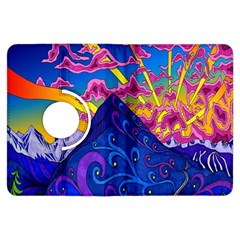 Psychedelic Colorful Lines Nature Mountain Trees Snowy Peak Moon Sun Rays Hill Road Artwork Stars Kindle Fire HDX Flip 360 Case