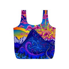 Psychedelic Colorful Lines Nature Mountain Trees Snowy Peak Moon Sun Rays Hill Road Artwork Stars Full Print Recycle Bags (S)