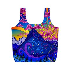 Psychedelic Colorful Lines Nature Mountain Trees Snowy Peak Moon Sun Rays Hill Road Artwork Stars Full Print Recycle Bags (M)