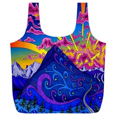 Psychedelic Colorful Lines Nature Mountain Trees Snowy Peak Moon Sun Rays Hill Road Artwork Stars Full Print Recycle Bags (L)