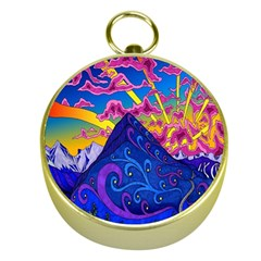 Psychedelic Colorful Lines Nature Mountain Trees Snowy Peak Moon Sun Rays Hill Road Artwork Stars Gold Compasses