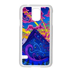 Psychedelic Colorful Lines Nature Mountain Trees Snowy Peak Moon Sun Rays Hill Road Artwork Stars Samsung Galaxy S5 Case (White)