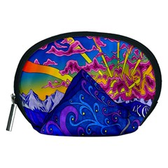 Psychedelic Colorful Lines Nature Mountain Trees Snowy Peak Moon Sun Rays Hill Road Artwork Stars Accessory Pouches (Medium)