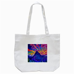 Psychedelic Colorful Lines Nature Mountain Trees Snowy Peak Moon Sun Rays Hill Road Artwork Stars Tote Bag (White)