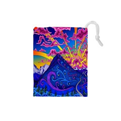 Psychedelic Colorful Lines Nature Mountain Trees Snowy Peak Moon Sun Rays Hill Road Artwork Stars Drawstring Pouches (Small)