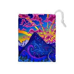 Psychedelic Colorful Lines Nature Mountain Trees Snowy Peak Moon Sun Rays Hill Road Artwork Stars Drawstring Pouches (Medium)