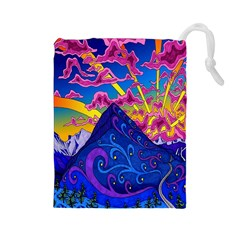 Psychedelic Colorful Lines Nature Mountain Trees Snowy Peak Moon Sun Rays Hill Road Artwork Stars Drawstring Pouches (Large)