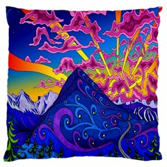 Psychedelic Colorful Lines Nature Mountain Trees Snowy Peak Moon Sun Rays Hill Road Artwork Stars Large Flano Cushion Case (two Sides)