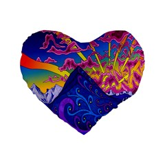 Psychedelic Colorful Lines Nature Mountain Trees Snowy Peak Moon Sun Rays Hill Road Artwork Stars Standard 16  Premium Flano Heart Shape Cushions