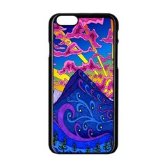 Psychedelic Colorful Lines Nature Mountain Trees Snowy Peak Moon Sun Rays Hill Road Artwork Stars Apple Iphone 6/6s Black Enamel Case