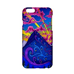 Psychedelic Colorful Lines Nature Mountain Trees Snowy Peak Moon Sun Rays Hill Road Artwork Stars Apple iPhone 6/6S Hardshell Case