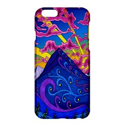 Psychedelic Colorful Lines Nature Mountain Trees Snowy Peak Moon Sun Rays Hill Road Artwork Stars Apple iPhone 6 Plus/6S Plus Hardshell Case