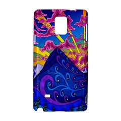 Psychedelic Colorful Lines Nature Mountain Trees Snowy Peak Moon Sun Rays Hill Road Artwork Stars Samsung Galaxy Note 4 Hardshell Case
