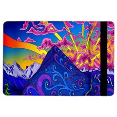 Psychedelic Colorful Lines Nature Mountain Trees Snowy Peak Moon Sun Rays Hill Road Artwork Stars iPad Air 2 Flip