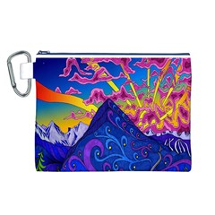 Psychedelic Colorful Lines Nature Mountain Trees Snowy Peak Moon Sun Rays Hill Road Artwork Stars Canvas Cosmetic Bag (L)