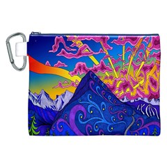 Psychedelic Colorful Lines Nature Mountain Trees Snowy Peak Moon Sun Rays Hill Road Artwork Stars Canvas Cosmetic Bag (xxl)