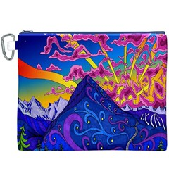 Psychedelic Colorful Lines Nature Mountain Trees Snowy Peak Moon Sun Rays Hill Road Artwork Stars Canvas Cosmetic Bag (XXXL)