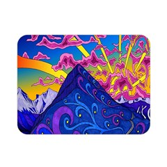 Psychedelic Colorful Lines Nature Mountain Trees Snowy Peak Moon Sun Rays Hill Road Artwork Stars Double Sided Flano Blanket (Mini)