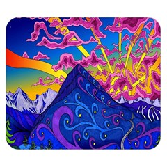 Psychedelic Colorful Lines Nature Mountain Trees Snowy Peak Moon Sun Rays Hill Road Artwork Stars Double Sided Flano Blanket (Small)
