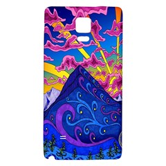 Psychedelic Colorful Lines Nature Mountain Trees Snowy Peak Moon Sun Rays Hill Road Artwork Stars Galaxy Note 4 Back Case
